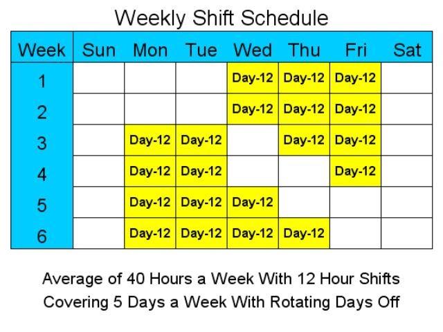 12 Hour Schedules for 5 Days a Week - standaloneinstaller.com