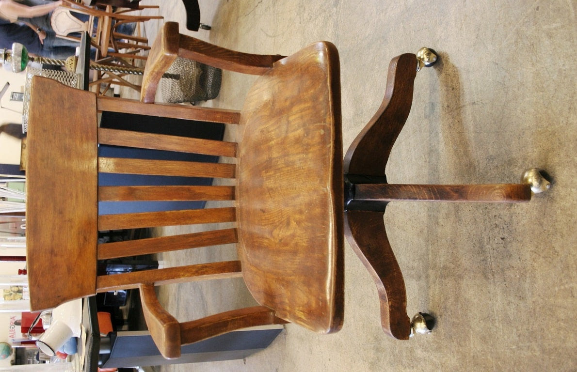 Vintage Wooden Desk Chair at 1stdibs