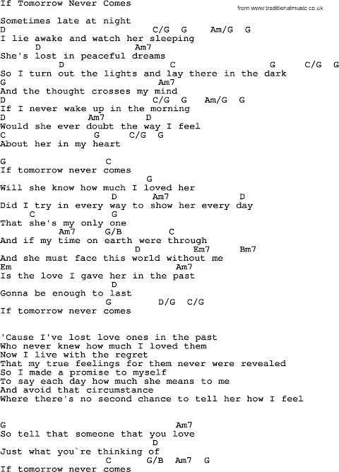 Garth Brooks If Tomorrow Never Comes Lyrics And Chords