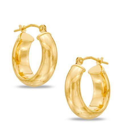 Wide Wedding Band Hoop Earrings in 14K Gold   Gold