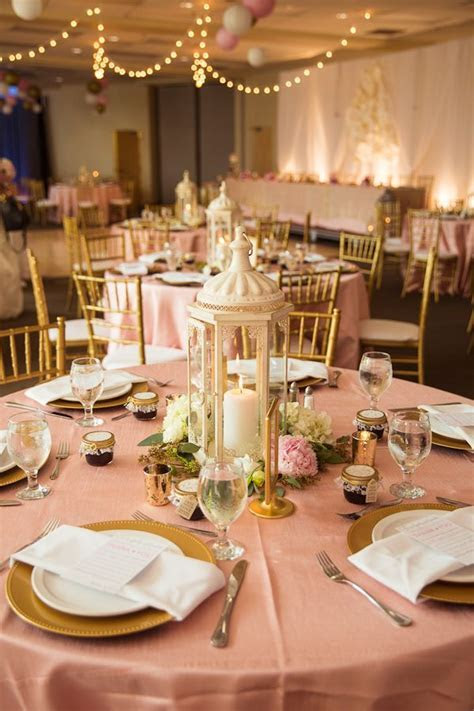 Blush and Gold Wedding reception, lantern centerpieces