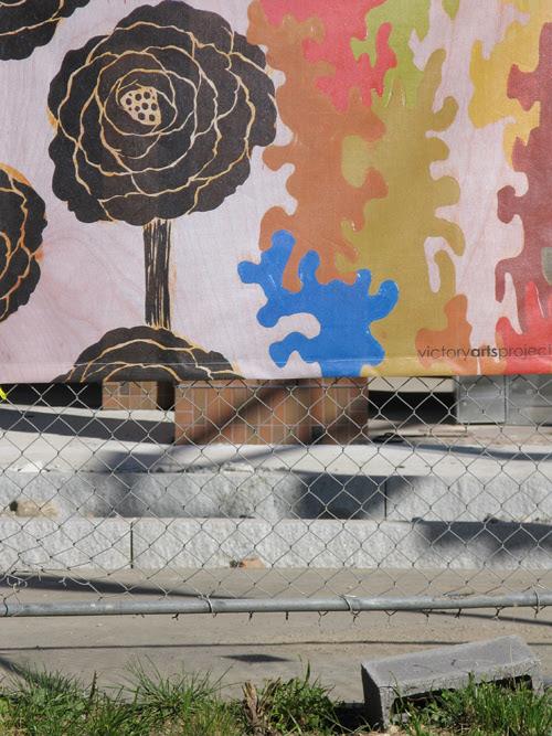 public art on a construction fence, Jersey City, NJ