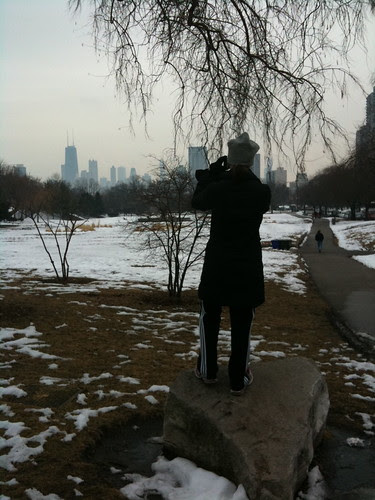 Someone snapping a photo of downtown Chicago