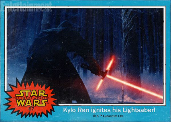 Kylo Ren ignites his lightsaber in STAR WARS: THE FORCE AWAKENS.