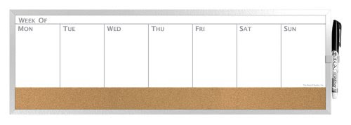 Board Dudes 7.5″ x 23″ Horizontal Magnetic Dry Erase/Cork Weekly ...