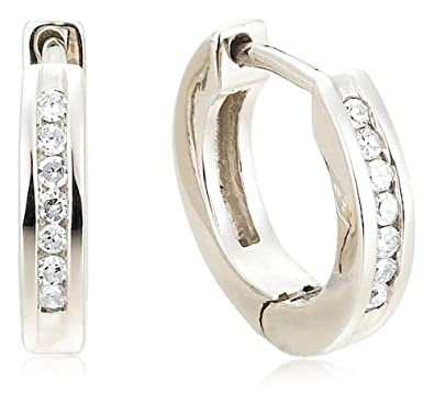 Sterling Silver Channel-Set Diamond Hoop Earrings