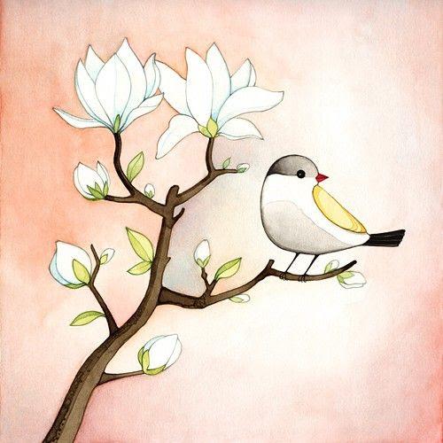 Bird illustration print - Magnolia branch