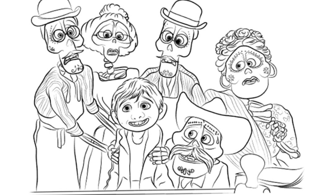 Disney Movie Coco Coloring Pages Characters Miguel and ...