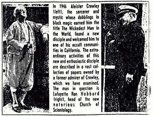Parcela de um artigo de 1969, sobre a ligação entre Hubbard e Crowley.