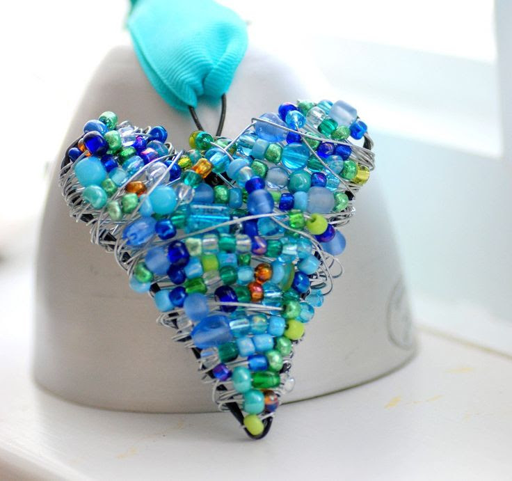 Beaded Wire Heart, Blue and Green Wire Wrapped Ornament, Decoration or Suncatcher - Missing You. $21.50, via Etsy.