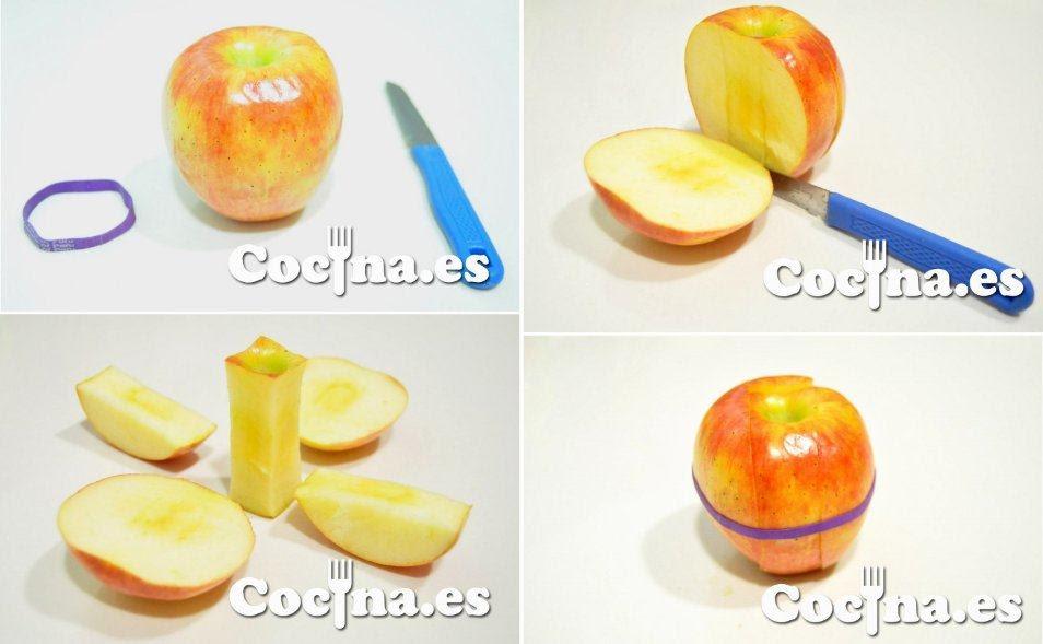Corte de una manzana para llevarla fresca al trabajo