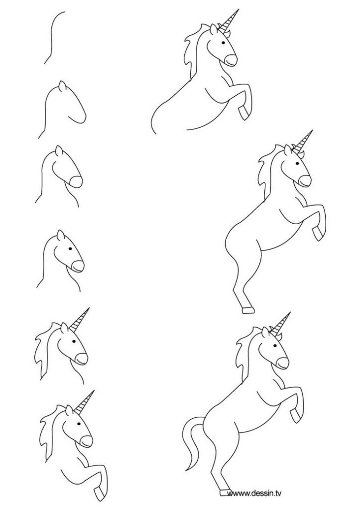 Unicorn Drawing Easy Cute Step By Step Hexopict Wall Ideas