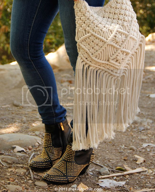 Old Navy Rock Star skinny jeans, Dolce Vita Rezzie boots, and Mossimo macrame fringe bag