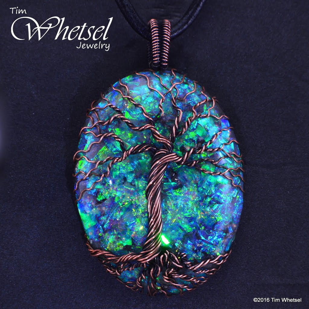Copper Tree Of Life Pendant Frame Less Opalescent Orgonite