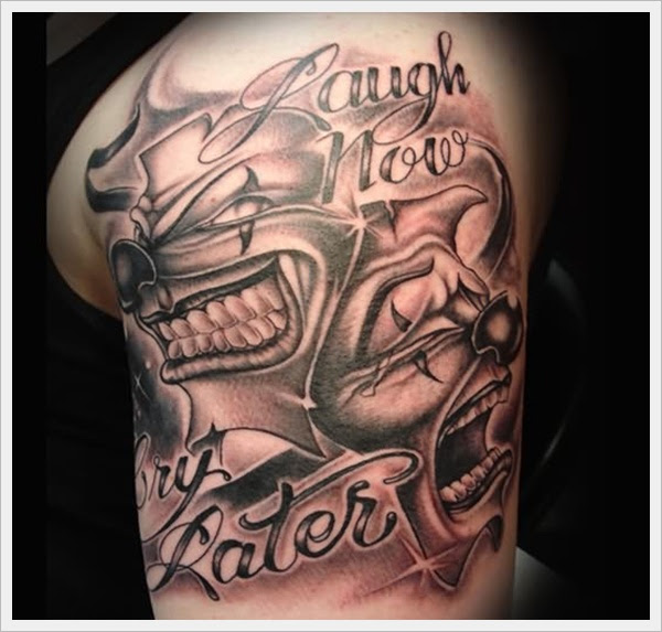 Laugh Now Cry Later Clown Head Tattoos On Left Shoulder
