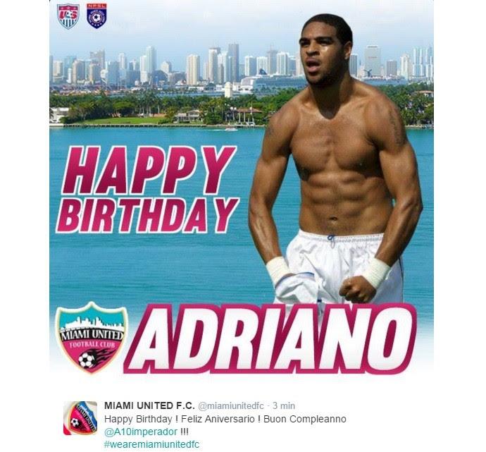Adriano parabéns Miami United FC