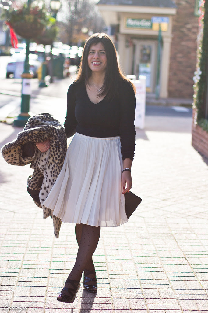 white pleated skirt black top leopard coat-2.jpg