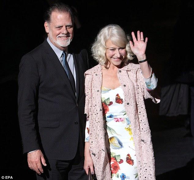 Data de Moda: Dame Helen chegou com seu marido diretor americano Taylor Hackford