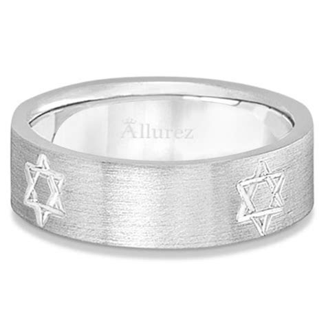 Jewish Star David Mens Carved Wedding Ring Band 14k White