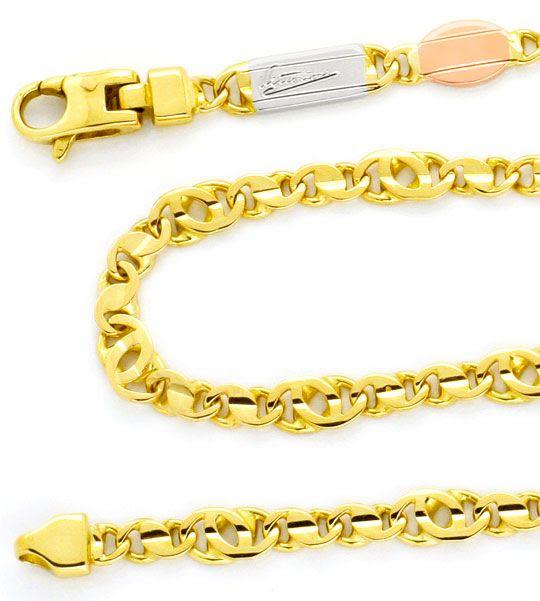 Foto 2, Pfauenauge / Tigerauge Gelb-Weiss-Rot-Gold-Kette Luxus!, K2136