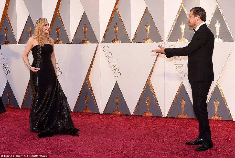 So proud: Kate may have lost out on Best Supporting Actress, but she was thrilled to see Leo win his first ever Oscar