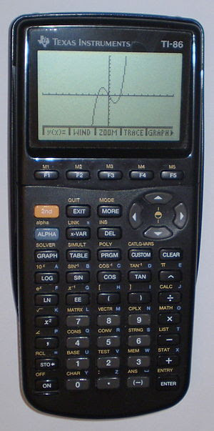 English: TI-86 graphics calculator by Texas In...