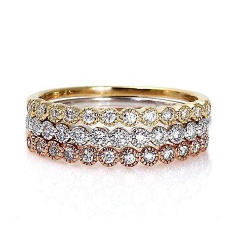 Diamond Bands Set of 3 Wedding Bands Wedding Ring Diamond