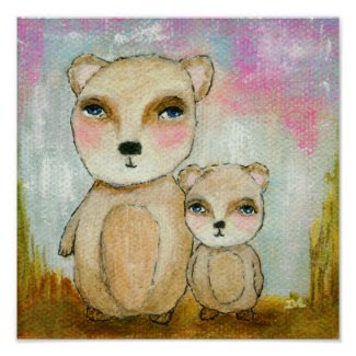 Woodland Bears Abstract Art Painting Posters