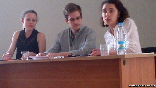 Edward Snowden, the former National Security Agency (NSA) contract employee, meeting in Moscow with activists. by Pan-African News Wire File Photos