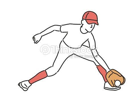 野球選手ソフトボール選手線画手描きベクトル イラスト ベクトルアート