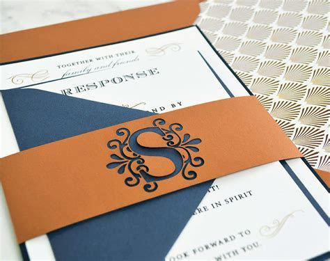 Elegant Dark Blue & Copper Wedding Invitation   Cards