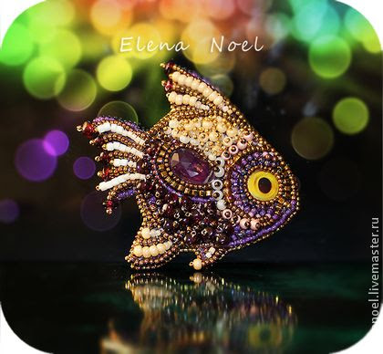 Handmade brooches. Fair Masters - Fish handmade brooch with garnet and ametrinom. Handmade.