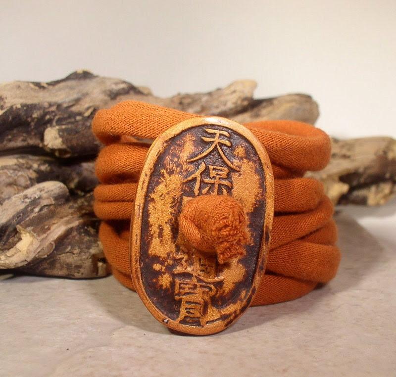 Wrap Bracelet - Asian Script Design - Button Clasp - Fabric Wrap - Easy Wear