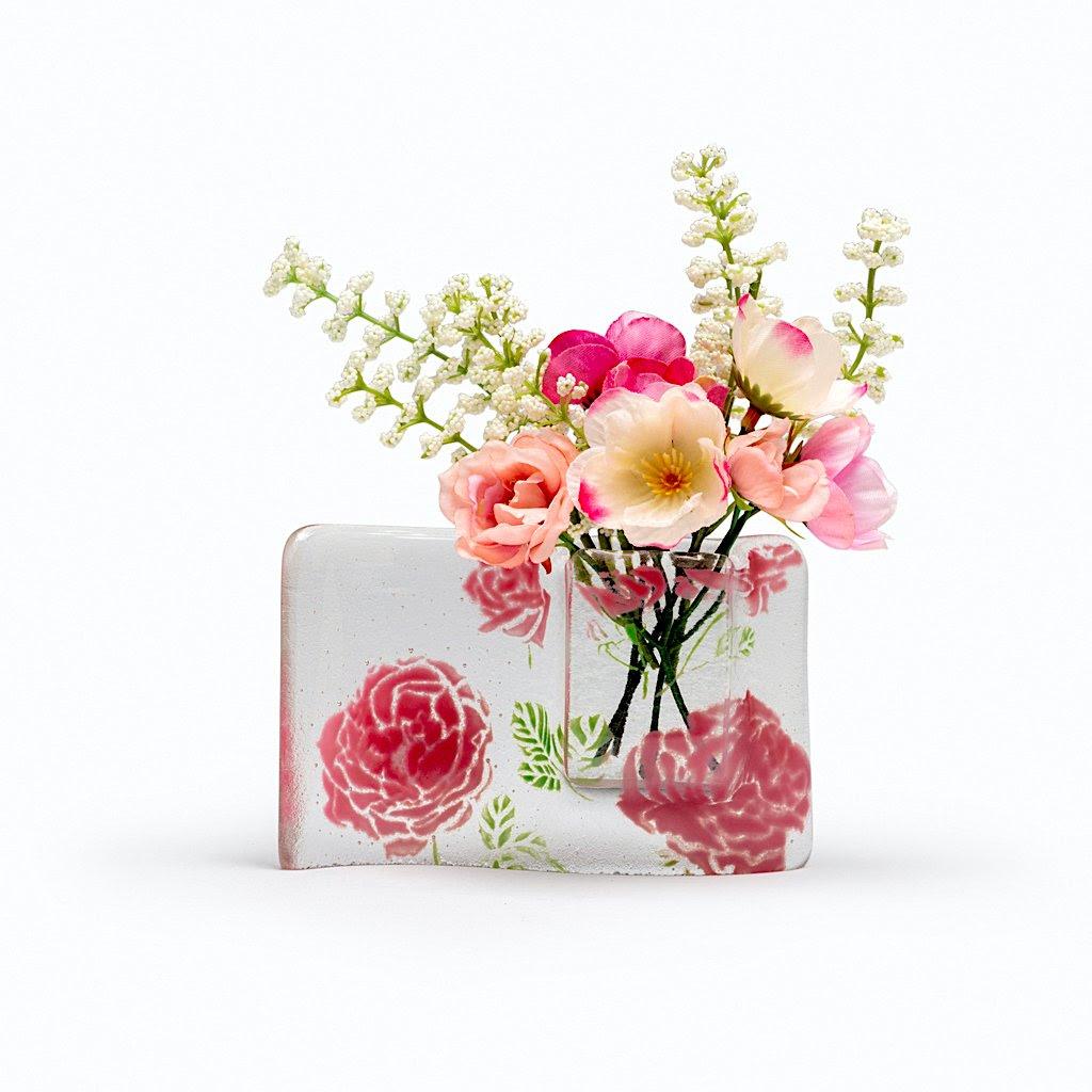 Roses Flower Vase Nixon Art Glass