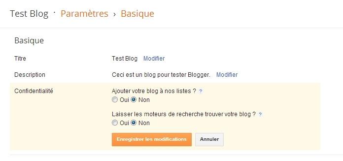 Options de référencement sur Blogger