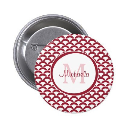 Modern Red and White Scallops Monogram and Name 2 Inch Round Button