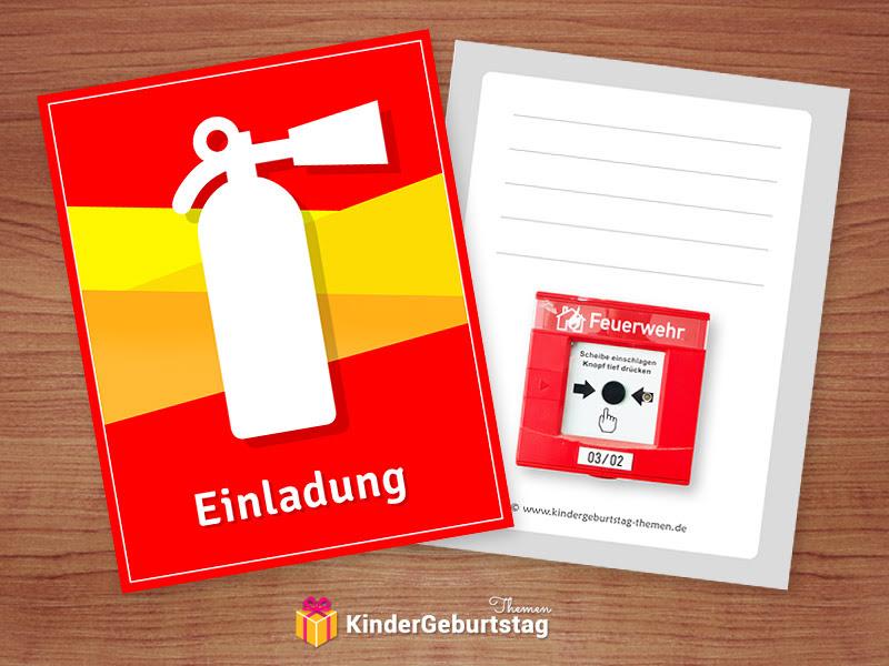 Einladungskarten Feuerwehr Zur Kinderparty Kostenlose