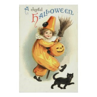 Clown Black Cat Jack O Lantern Pumpkin Poster