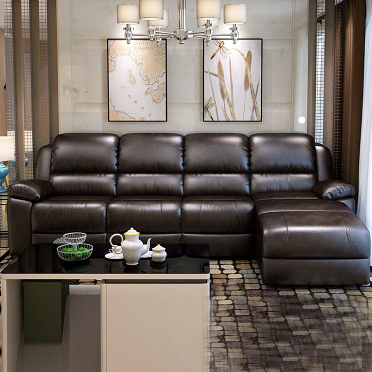 Chocolate Manual Recliner Sectional Sofa in Faux Leather ...