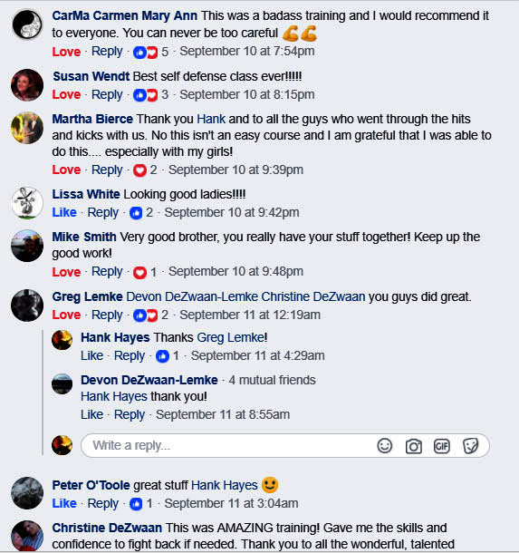 Facebook Responses From First Course 1 Training Knives That