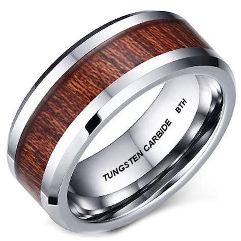 Genuine KOA Wood Inlay Mens Tungsten Carbide