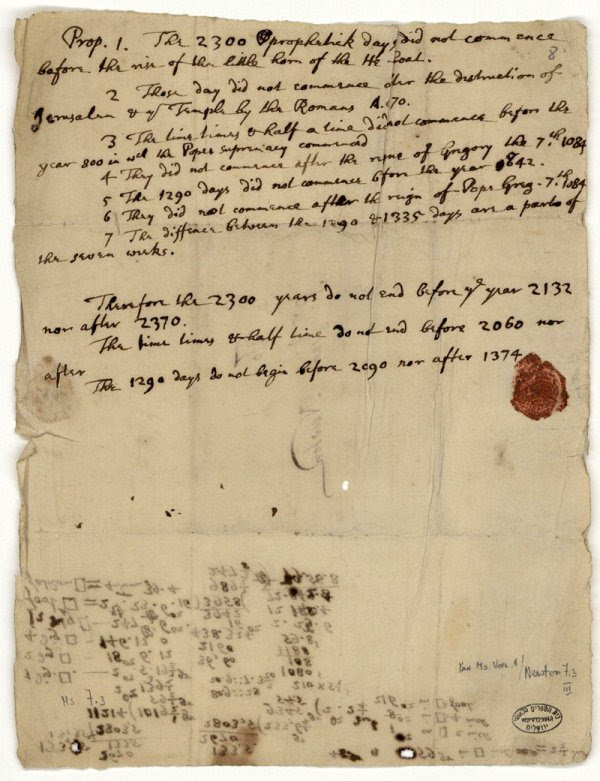 The letter written by Sir Isaac Newton where he predicts the world would end in 2060