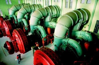 Hydropower generates about 24 percent of the world's and 12 percent of the United States' electricity. Shown here are the massive turbines inside a hydropower plant along Washington state's Spokane River.