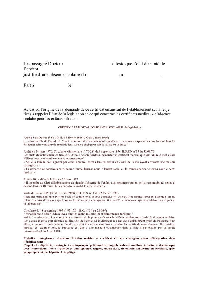 lettre justificatif absence maladie - Modele de lettre type