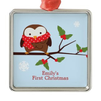 Cute Owl First Christmas Custom Ornament