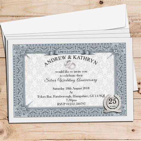 10 Personalised Silver Wedding Anniversary Invitations N10
