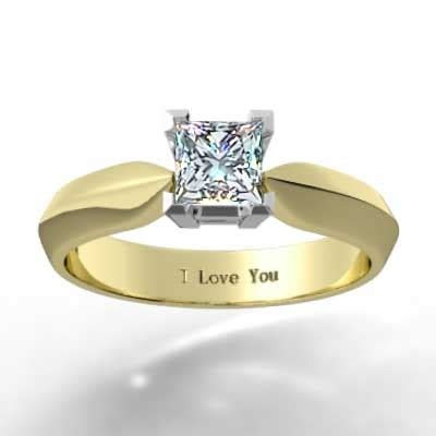 Tapered Knife Edge Engagement Ring 14k Yellow Gold