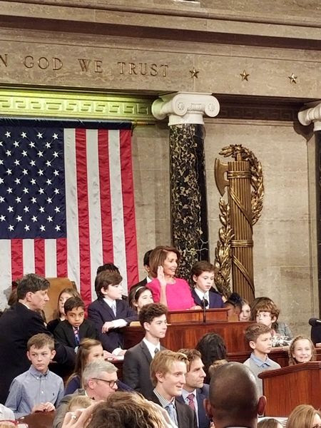 With the children of other congressional members standing next to her, Nancy Pelosi is sworn in as Speaker of the House of Representatives on the first day of the 116th Congress...on January 3, 2019.