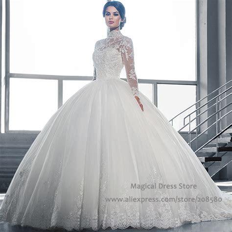Turkey Sheer High Neck Ball Gown Wedding Dresses Long