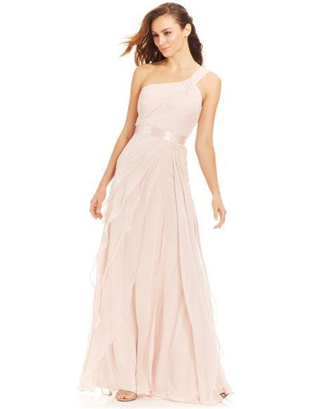 Adrianna Papell Petite One Shoulder Tiered Chiffon Gown